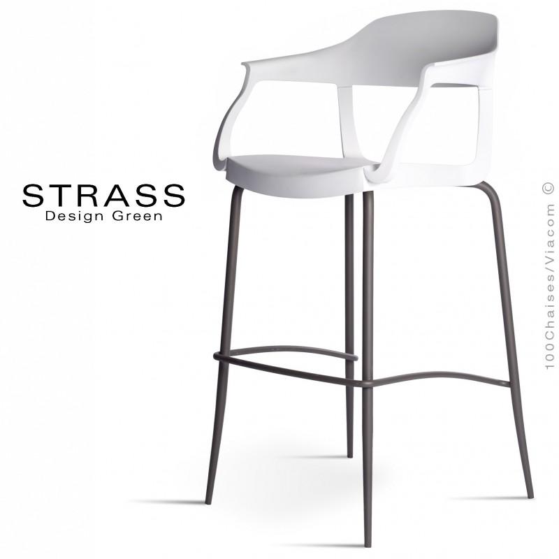 Tabouret de bar STRASS, assise plastique avec accoudoirs, piétement peint anthracite, assise couleur blanche.