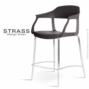 Tabouret de cuisine STRASS, assise plastique avec accoudoirs, piétement chromé - Assise couleur noir.