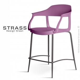 Tabouret de cuisine STRASS, assise plastique avec accoudoirs, piétement peint anthracite, assise couleur prune.