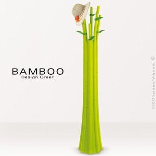 Porte manteau décoratif BAMBOO, structure plastique en polypropylène, vert + 4 feuilles.
