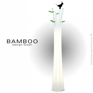 Porte manteau décoratif lumineux BAMBOO, structure plastique, éclairage ampoule ou LED.