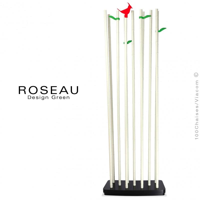 Module séparateur décoratif simple ROSEAU, tiges couleur blanche socle MDF noir.