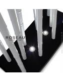 Module séparateur décoratif lumineux ROSEAU, tiges couleur blanche ou sable socle MDF noir ou blanc.