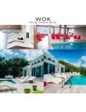 Ambiance sun et plage grâce au bain de soleil WOK, structure plastique couleur au choix.