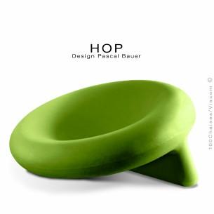 Fauteuil assise basse lounge confort HOP, structure plastique couleur vert Anis.