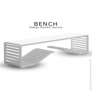 Banc en aluminium BENCH, destination indoor-outdoor, peinture couleur blanche.