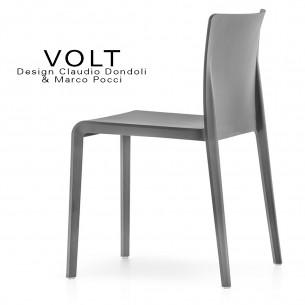 Chaise plastique pour terrasse et restaurant VOLT, structure plastique, empilable, couleur gris foncé..