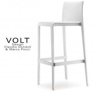 Tabouret de bar plastique VOLT, structure polypropylène de couleur blanche.