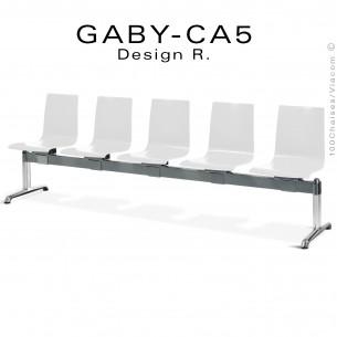 Banc ou assise sur poutre GABY pour salle d'attente, cinq places assises blanches, piétement aluminium