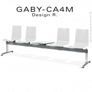 Banc ou assise sur poutre GABY pour salle d'attente, quatre places blanche avec porte revues, piétement aluminium.