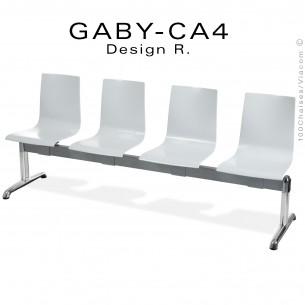 Banc ou assise sur poutre GABY pour salle d'attente, quatre places blanche, piétement aluminium.