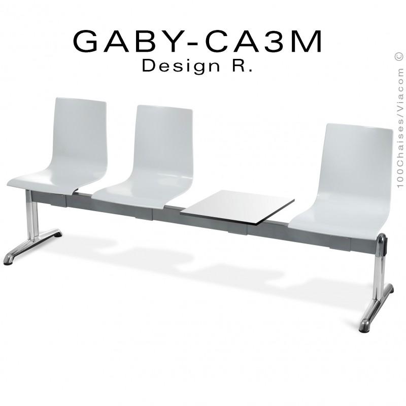 Banc ou assise sur poutre GABY pour salle d'attente avec porte revues, trois places blanche, piétement aluminium.
