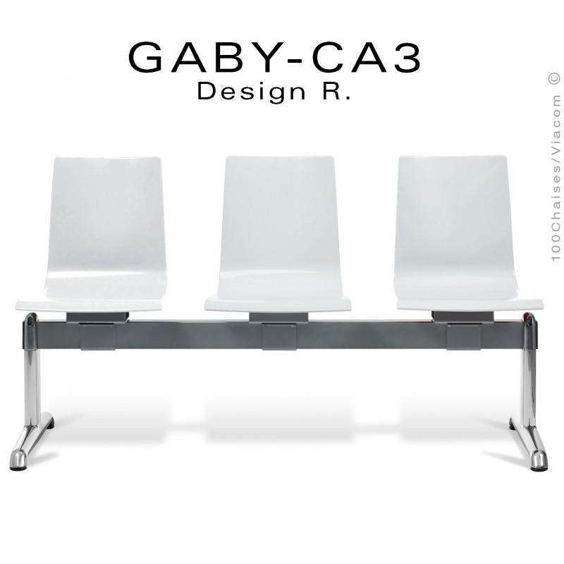 Banc ou assise sur poutre GABY pour salle d'attente, trois places blanche, piétement aluminium.