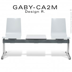Banc ou assise sur poutre GABY pour salle d'attente, deux places blanche avec tablette porte revue, piétement aluminium.