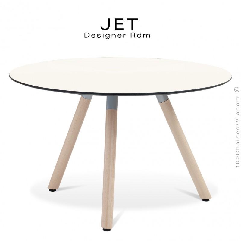 Table d'appoint ronde JET, piétement vernis Erable, plateau stratifier couleur blanc