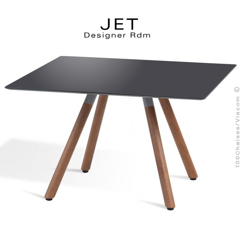 Table d'appoint carré JET, piétement vernis noyer, plateau stratifier couleur anthracite