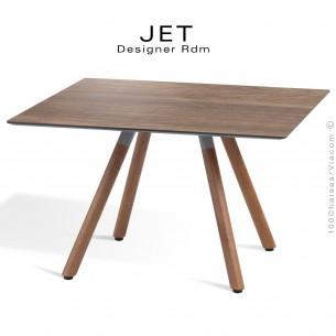 Table d'appoint carré JET, piétement vernis noyer, plateau stratifier aspect bois