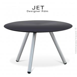 Table d'appoint ronde JET, piétement acier peint gris aluminium, plateau couleur anthracite