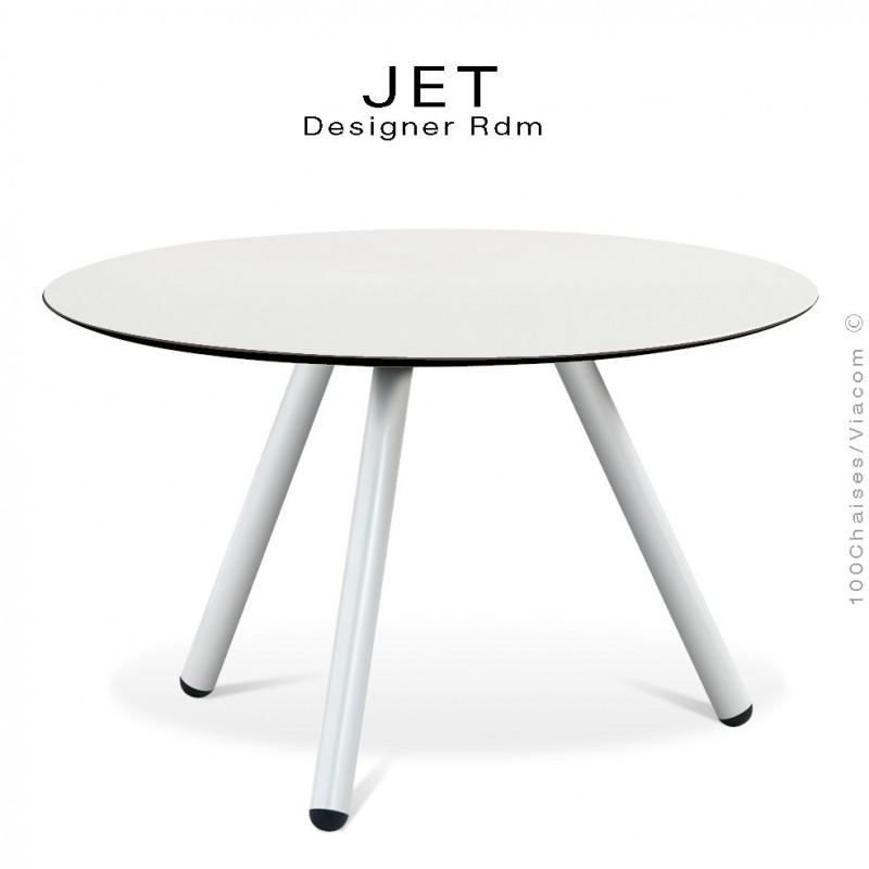 Table d'appoint ronde JET, piétement acier peint blanc, plateau couleur blanc