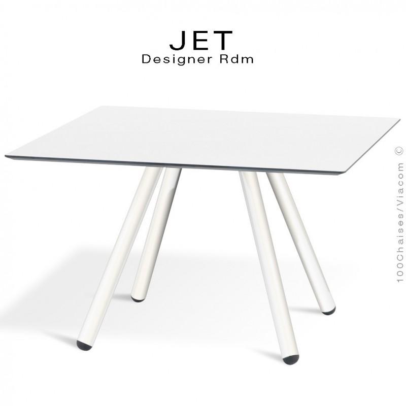 Table d'appoint carré JET, piétement acier peint blanc, plateau couleur blanc