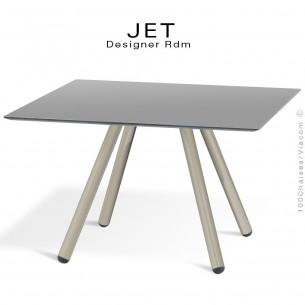Table d'appoint carré JET, piétement acier peint gris tourterelle, plateau couleur argent