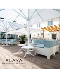 Banquette extérieur modulable pouf ou table PLAYA, structure plastique de couleur blanche ou moka avec coussin hydrofuge.