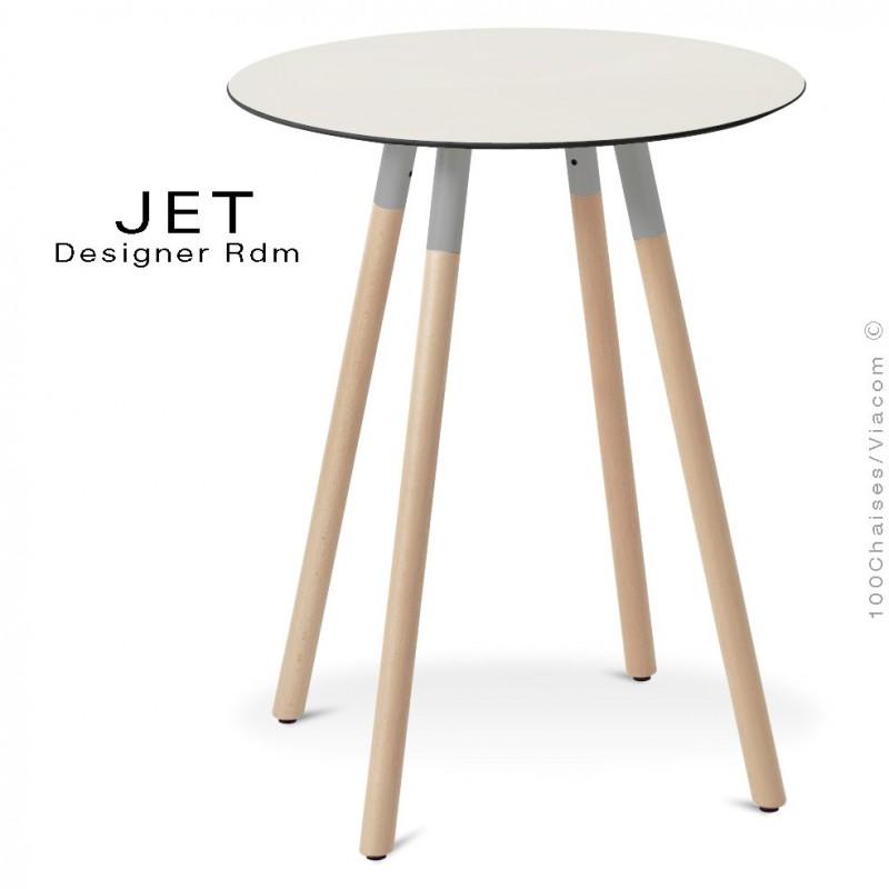 Table pour café, snack ronde JET, 3 pieds bois vernis Erable, plateau stratifié blanc