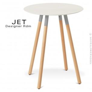 Table pour café, snack ronde JET, 3 pieds bois vernis naturel, plateau blanc chant blanc
