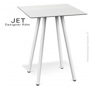 Table pour café, snack carré JET, 4 pieds acier peint blanc, plateau stratifier couleur blanc