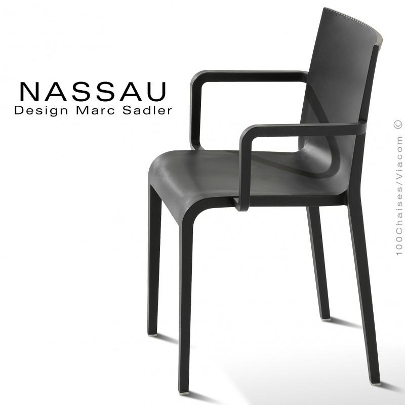 Fauteuil pour hôtel, restaurant, jardin NASSAU structure plastique couleur noir