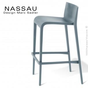 Tabouret pour hôtel, restaurant, bar, snack ou jardin NASSAU structure plastique couleur gris clair ou souris