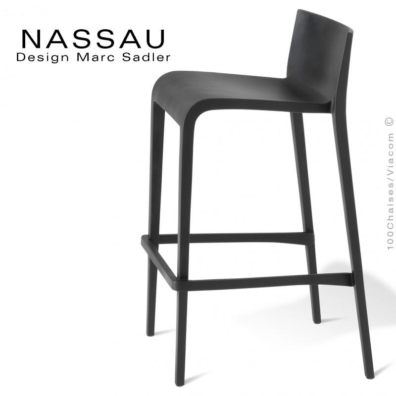 Tabouret pour hôtel, restaurant, bar, snack ou jardin NASSAU structure plastique couleur noir