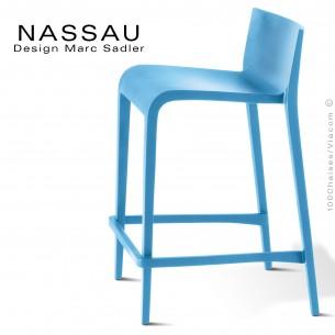 Tabouret pour cuisine ou îlot central NASSAU structure plastique couleur bleu clair