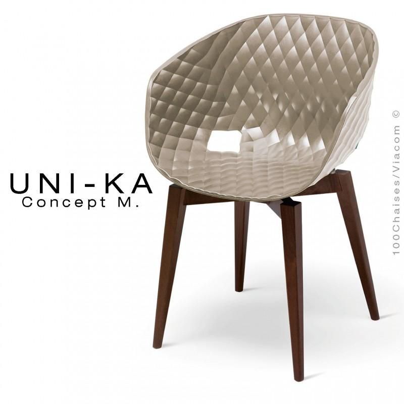 Fauteuil UNI-KA assise coque couleur gris Tourterelle, piétement bois Hêtre teinté Wengé