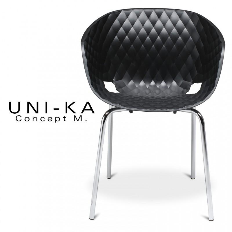Fauteuil UNI-KA assise coque couleur anthracite, piétement acier chromé.