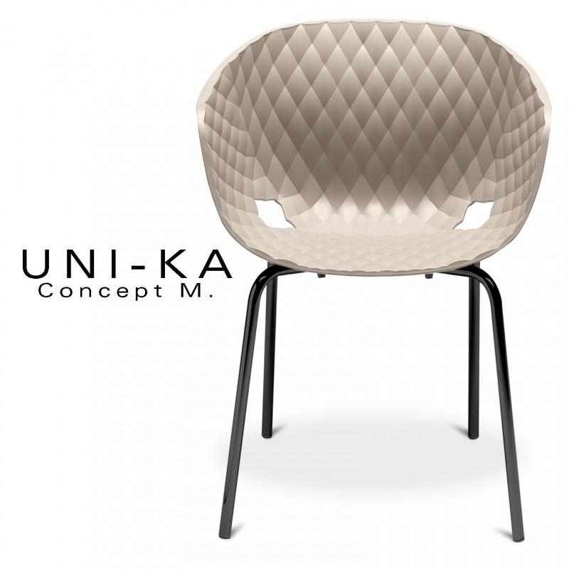 Fauteuil UNI-KA assise coque couleur gris Tourterelle, piétement acier peinture couleur noire.