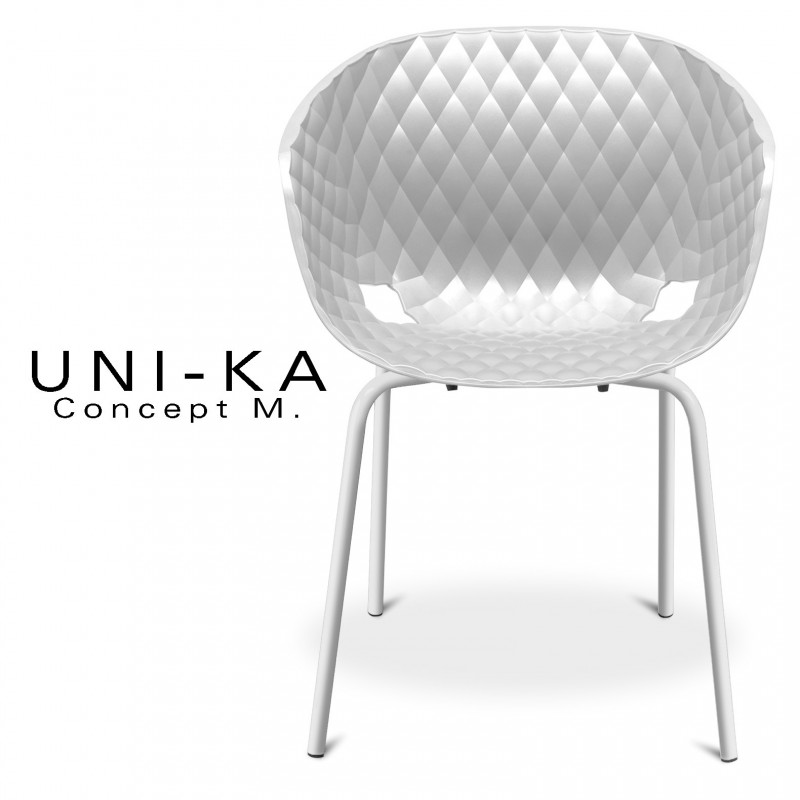 Fauteuil UNI-KA assise coque couleur blanche, piétement peinture couleur blanche