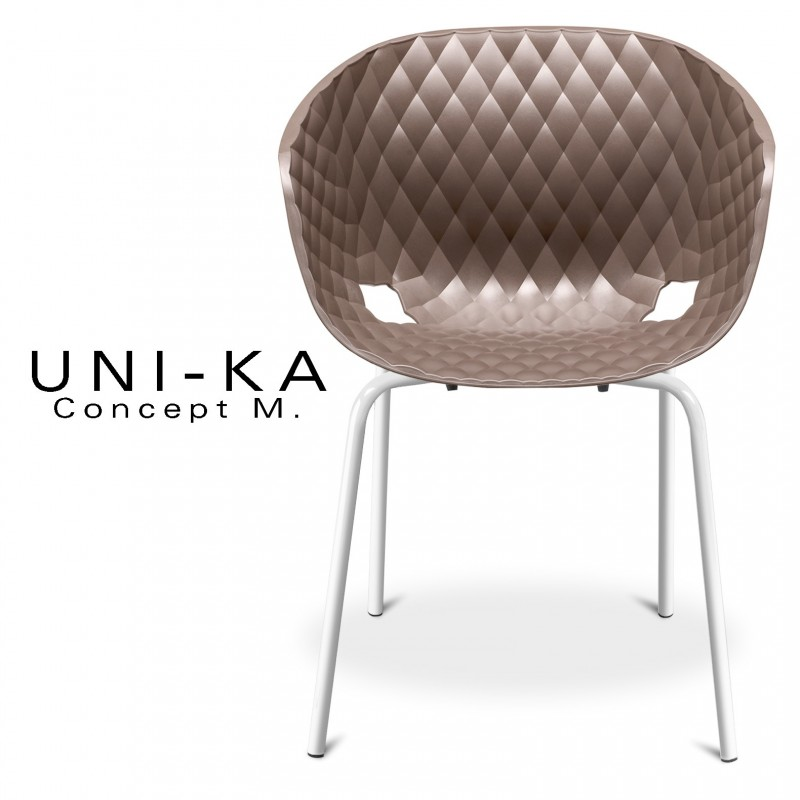 Fauteuil UNI-KA assise coque couleur moka, piétement peinture couleur blanche