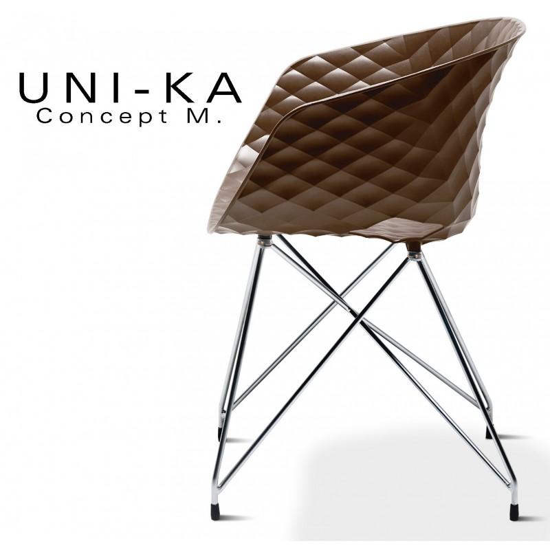 Fauteuil UNI-KA assise coque couleur moka, piétement acier chromé.