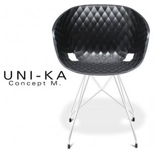 Fauteuil UNI-KA piétement blanc assise coque couleur anthracite.