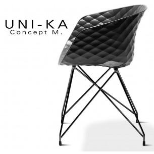 Fauteuil UNI-KA piétement noir assise coque couleur noir.