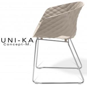 Fauteuil UNI-KA piétement luge chromé assise coque couleur gris Tourterelle.