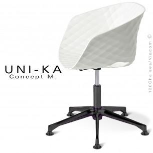 Fauteuil de bureau UNI-KA piétement 5 branches aluminium black, assise coque couleur blanche.