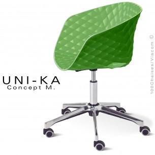 Fauteuil design de bureau UNI-KA piétement aluminium,colonne centrale avec roulettes, assise coque couleur vert pâle.