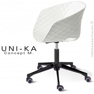 Fauteuil design de bureau UNI-KA piétement aluminium black, colonne centrale avec roulettes, assise coque couleur blanche.