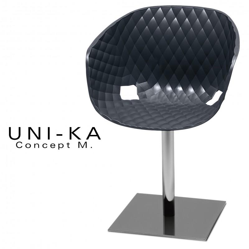 Fauteuil UNI-KA piétement chromé assise coque couleur anthracite.