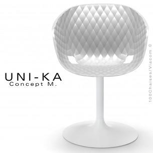 Fauteuil assise coque UNI-KA piétement finition peinture blanche, assise couleur blanche.