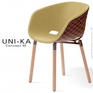 Fauteuil UNI-KA, assise coque effet matelassé Moka, assise garnie habillage tissu paille FL821