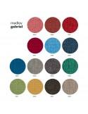 Gamme couleur tissu Medley pour fauteuil coque effet matelassé UNI-KA piétement 4 pieds bois, coque plastique couleur.