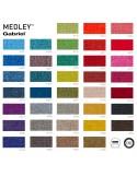 Gamme couleur complète tissu Medley pour fauteuil coque effet matelassé UNI-KA piétement 4 pieds bois, coque plastique couleur.
